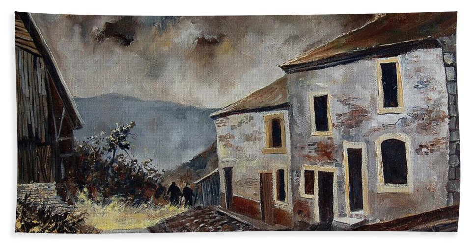 Tree Bath Towel featuring the painting Old Houses by Pol Ledent