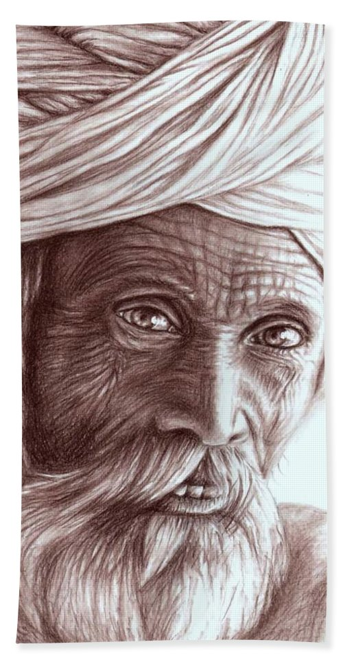 Man Hand Towel featuring the drawing Old Indian Man by Nicole Zeug