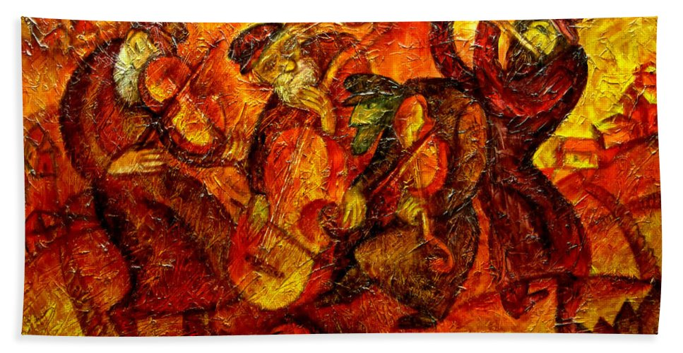 Jewish Music Bath Towel featuring the painting Old Klezmer Band by Leon Zernitsky