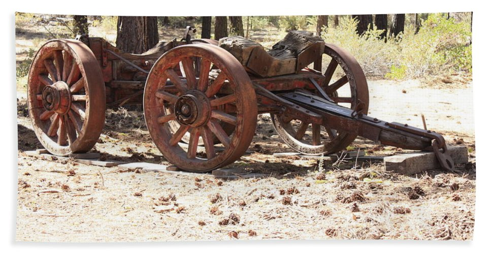 Old Wagon Bath Sheet featuring the photograph Old Logging Wagon by Carol Groenen