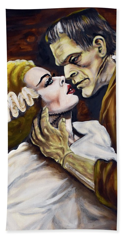 Frankenstein Hand Towel featuring the painting Old Loves Die Hard by Michael Melillo