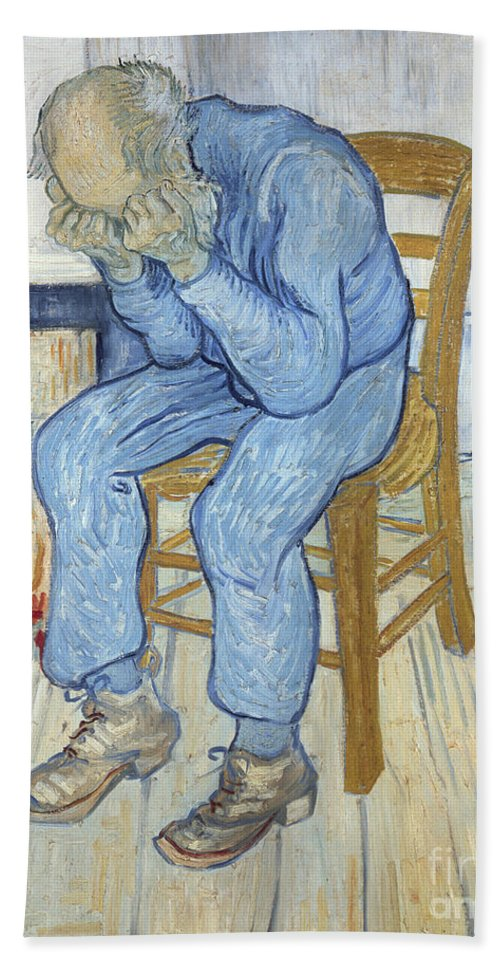 Male; Elderly; Seated; Head In Hands; Despair; Desperate Hand Towel featuring the painting Old Man In Sorrow by Vincent van Gogh