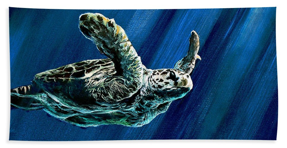 Turtle Hand Towel featuring the painting Old Man Of The Sea by Marco Antonio Aguilar