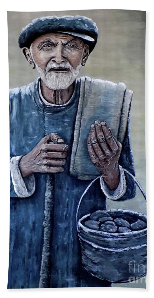 Old Man Bath Sheet featuring the painting Old Man With His Stones by Judy Kirouac