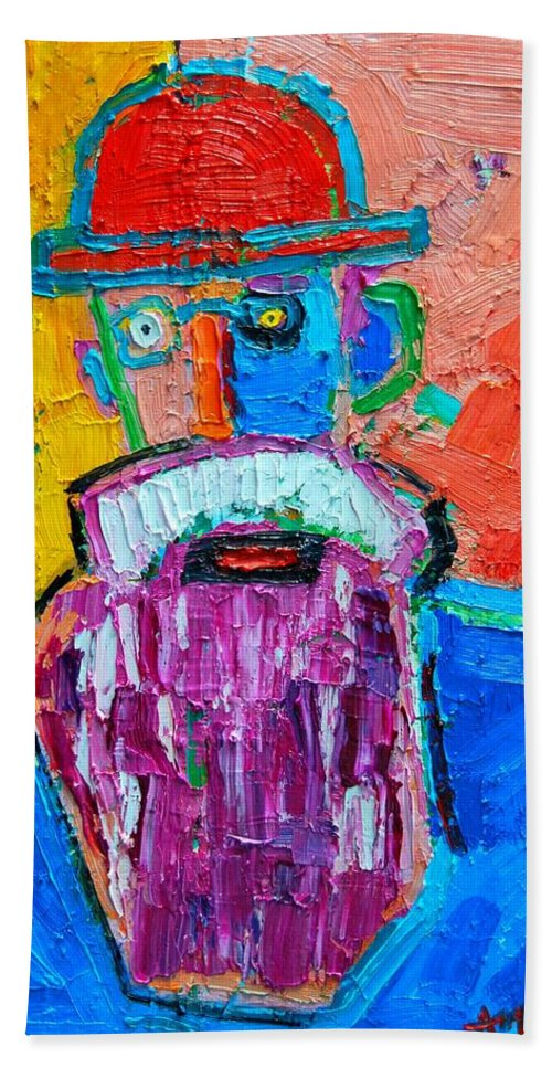 Expressionist Hand Towel featuring the painting Old Man With Red Bowler Hat by Ana Maria Edulescu