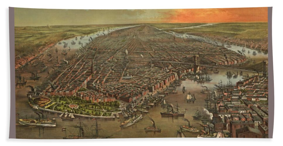 Old Manhattan Historic Illustration Bath Sheet featuring the painting Old Manhattan Historic Illustration by Pd