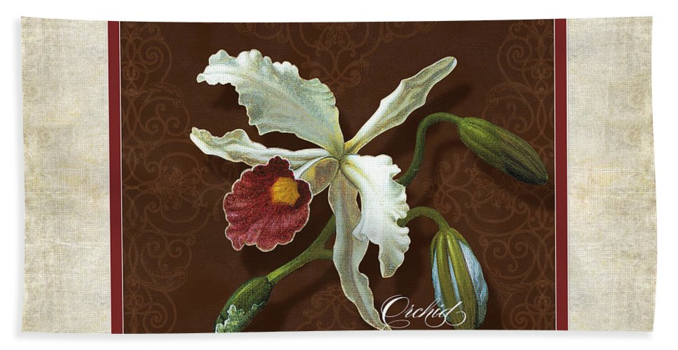 Old Masters Hand Towel featuring the painting Old Masters Reimagined - Cattleya Orchid by Audrey Jeanne Roberts