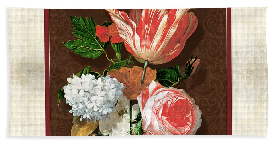 Old Masters Hand Towel featuring the painting Old Masters Reimagined - Parrot Tulip by Audrey Jeanne Roberts