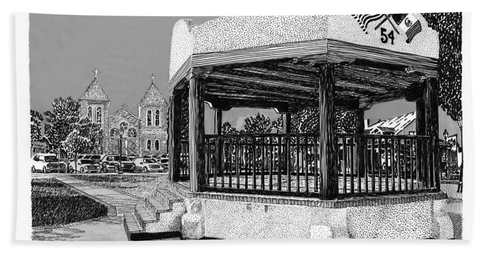 Town Meeting Hand Towel featuring the drawing Old Mesilla Gazebo by Jack Pumphrey