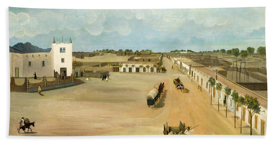 Leon Trousset Bath Sheet featuring the painting Old Mesilla Plaza by Leon Trousset