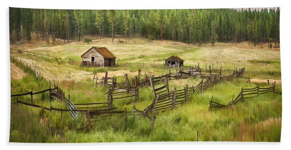 Architecture Bath Sheet featuring the digital art Old Montana Homestead by Sharon Foster