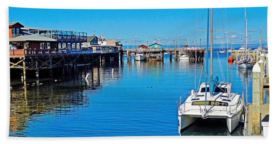 Old Monterey Wharf Hand Towel featuring the photograph Old Monterey Wharf by Robert Meyers-Lussier