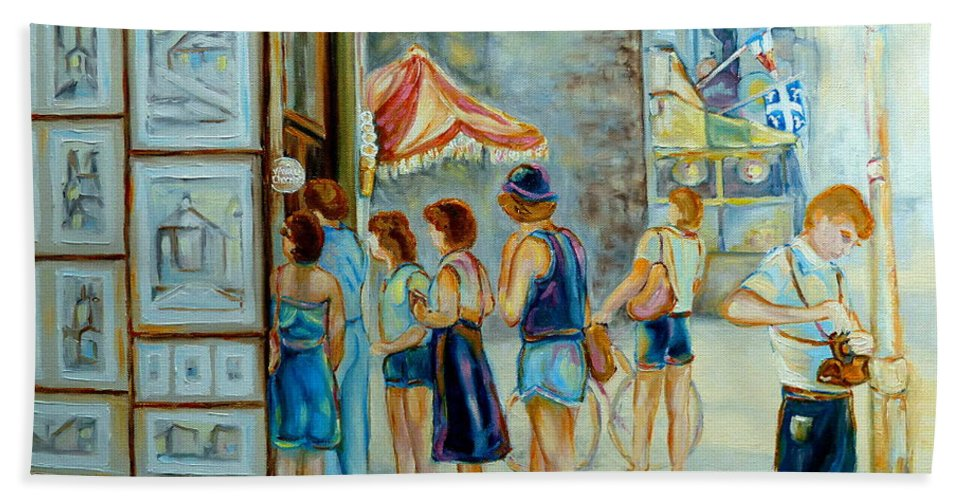 Old Montreal Street Scene Bath Towel featuring the painting Old Montreal Street Scene by Carole Spandau