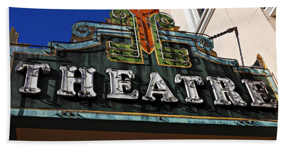 Old Hand Towel featuring the photograph Old Movie Theatre Sign by Garry Gay