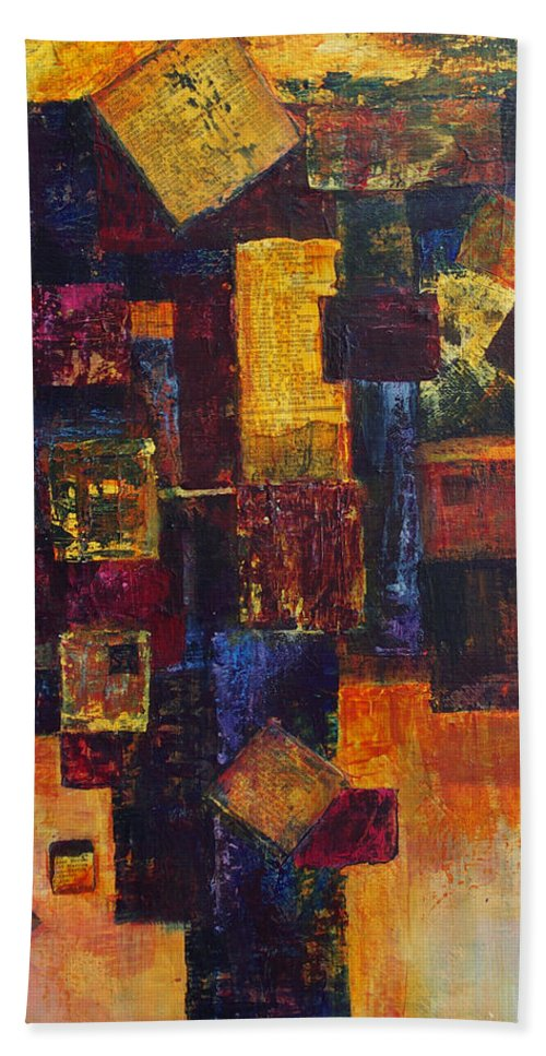 Grid Hand Towel featuring the painting Old News by Cindy Johnston