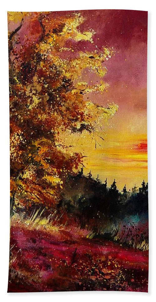 Landscape Hand Towel featuring the painting Old Oak At Sunset by Pol Ledent
