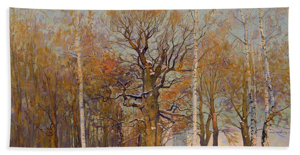 Landscape Bath Towel featuring the painting Old Oak-tree In Kolomenskoye by Simon Kozhin