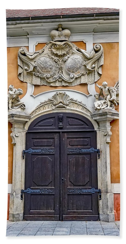 Old Ornate Door Hand Towel featuring the photograph Old Ornate Door At The Cesky Krumlov Castle At Cesky Krumlov In The Czech Republic by Richard Rosenshein