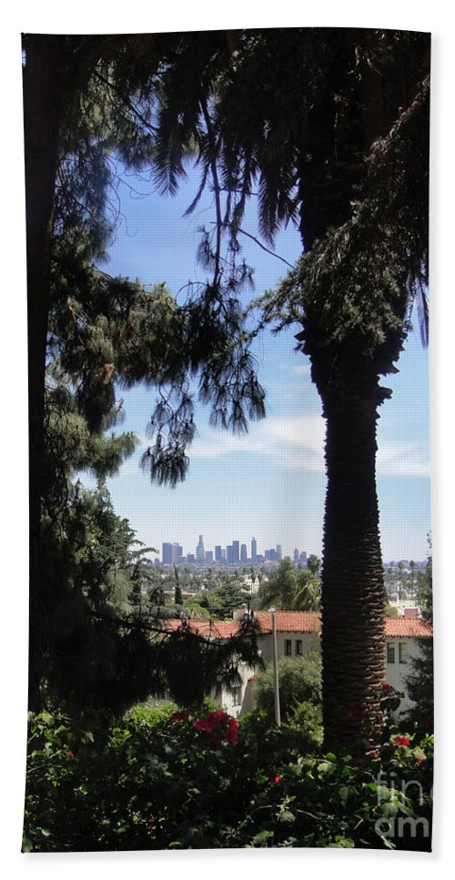 Los Angeles Bath Sheet featuring the photograph Old Palm Trees And Downtown Los Angeles by Sofia Metal Queen