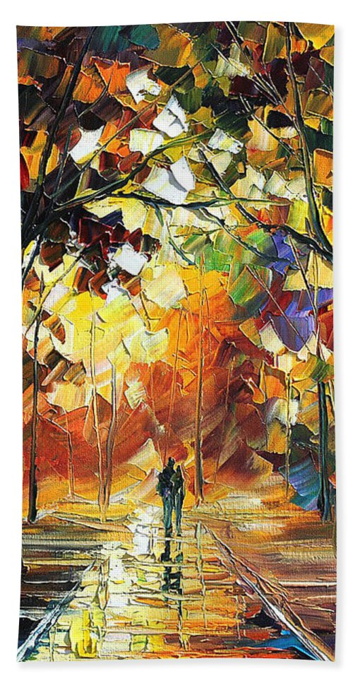 Art Gallery Hand Towel featuring the painting Old Park 3 - Palette Knife Oil Painting On Canvas By Leonid Afremov by Leonid Afremov