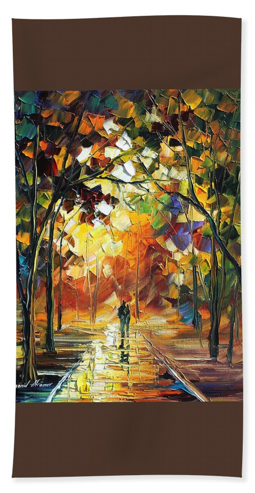 Afremov Bath Sheet featuring the painting Old Park by Leonid Afremov