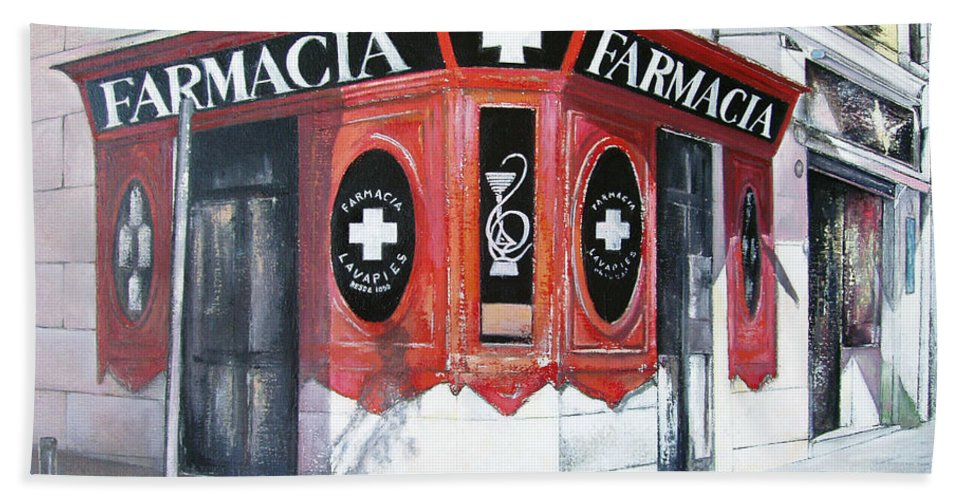 Pharmacy Bath Towel featuring the painting Old Pharmacy by Tomas Castano
