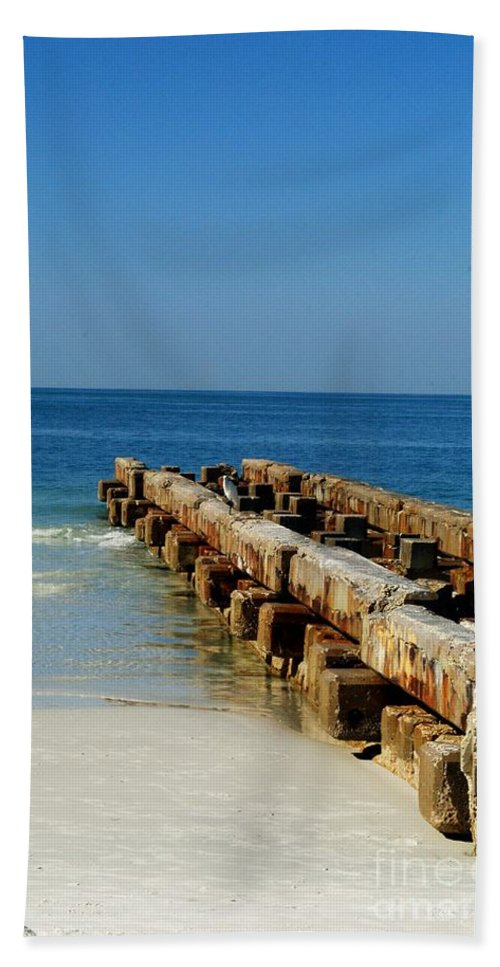 Pier Bath Sheet featuring the photograph Old Pier by Gary Wonning