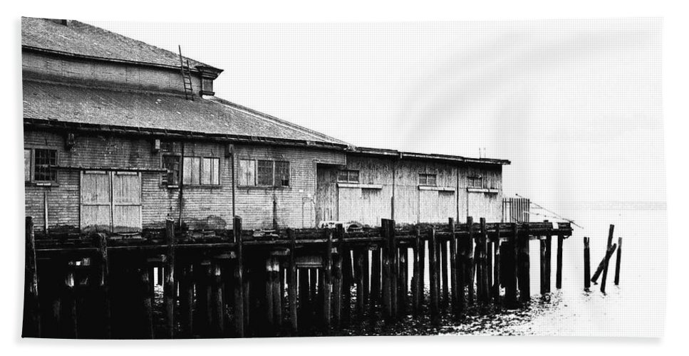 History Bath Sheet featuring the photograph Old Pier by Karen Ulvestad