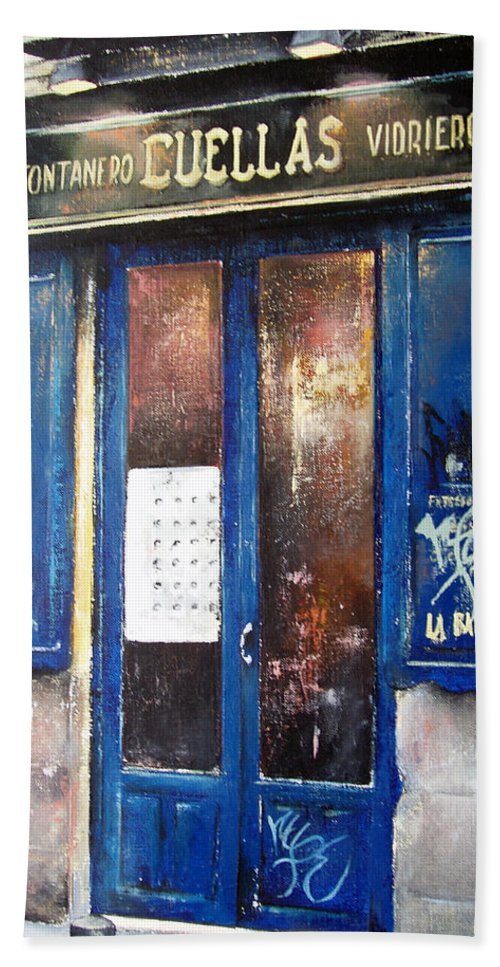 Old Bath Towel featuring the painting Old Plumbing-Madrid by Tomas Castano