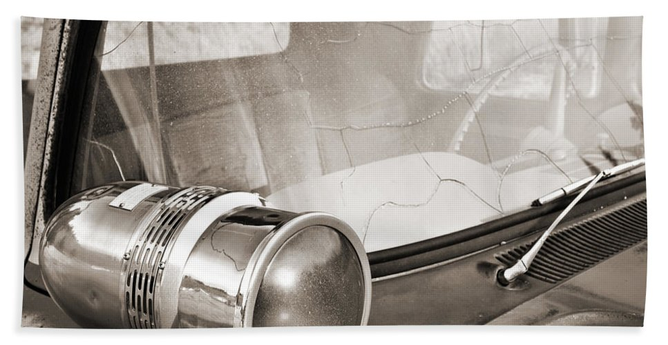 Americana Bath Sheet featuring the photograph Old Police Car Siren by Marilyn Hunt