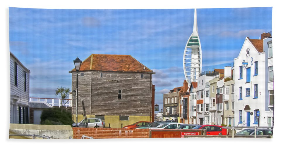 Old Portsmouth Hand Towel featuring the photograph Old Portsmouth Flood Gates by Terri Waters