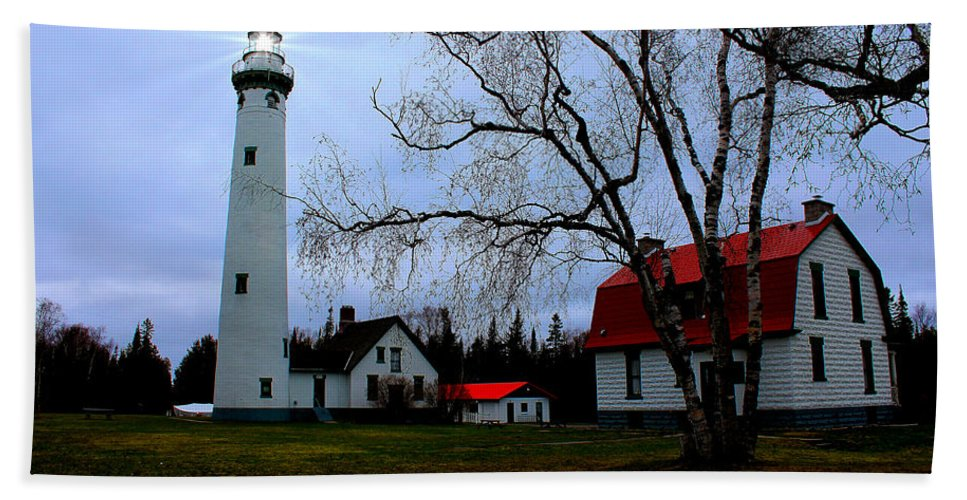 Lighthouse Bath Sheet featuring the photograph Old Presque Isle Lighthouse by Michael Rucker