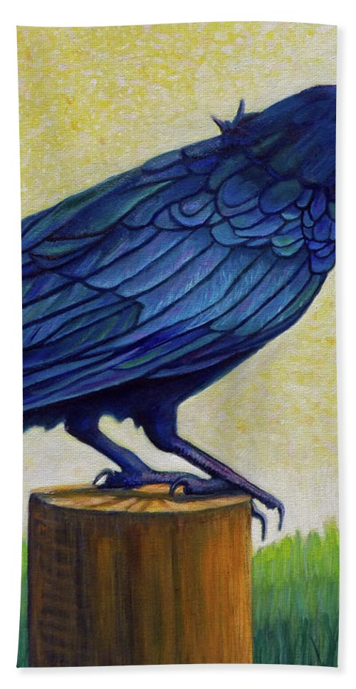 Raven Bath Towel featuring the painting Old Priest In Passion by Brian Commerford