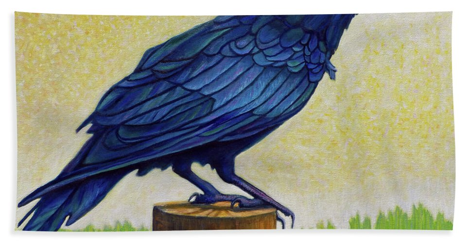 Raven Hand Towel featuring the painting Old Priest In Passion by Brian Commerford
