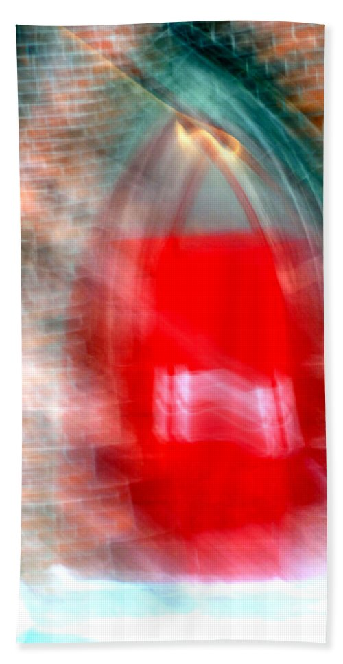 Red Hand Towel featuring the photograph Old Red Door Abstract by Anthony Jones