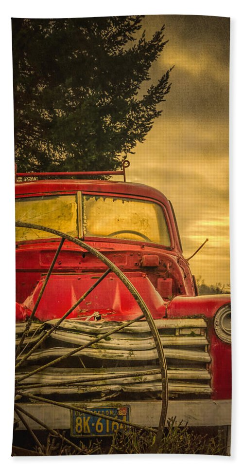 Barn Hand Towel featuring the photograph Old Red Truck by Don Schwartz