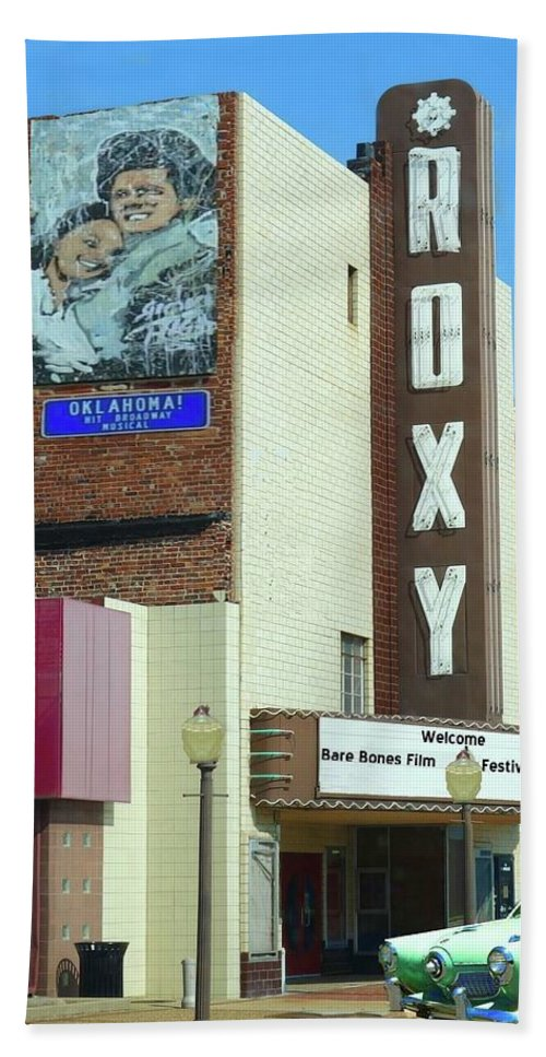 Roxy Bath Sheet featuring the photograph Old Roxy Theater In Muskogee, Oklahoma by Janette Boyd