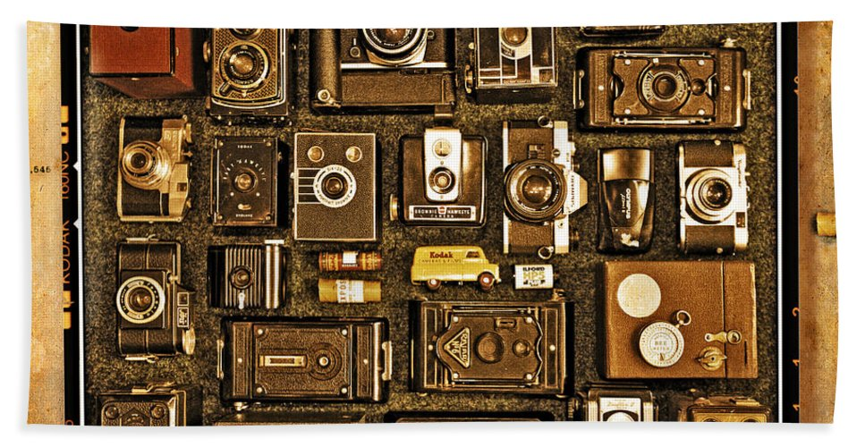 Vintage Hand Towel featuring the photograph 'old School' Cameras by Mal Bray