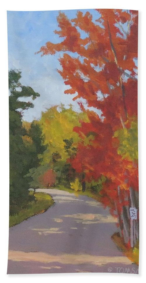 Colors Hand Towel featuring the painting Old Scoolhouse Road Fall - Art By Bill Tomsa by Bill Tomsa