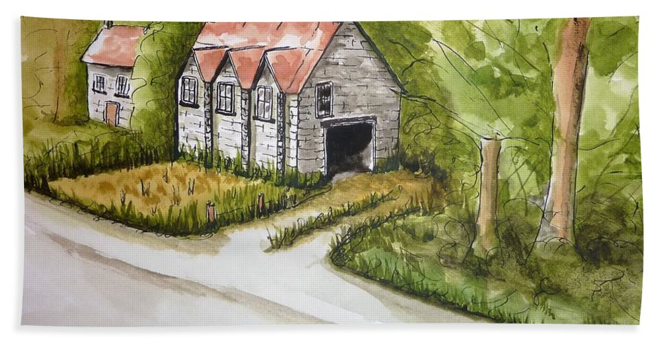 Trees Hand Towel featuring the painting Old Scottish Stone Barn by Diane Palmer
