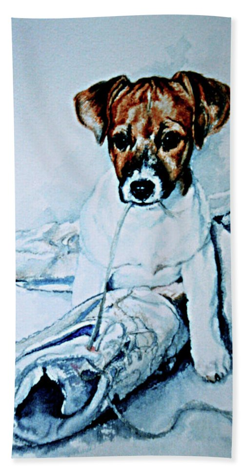 Puppy Portrait Hand Towel featuring the painting Old Shoe Pup by Hanne Lore Koehler