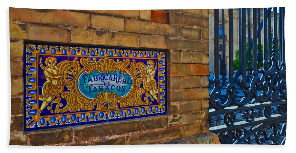 Photography Bath Sheet featuring the photograph Old Sign Outside The Royal Tobacco by Panoramic Images