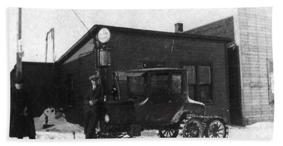 Classic Black And White Old Photo Pioneers Old Days 1900s Ski Truck Bath Sheet featuring the photograph Old Ski Truck by Andrea Lawrence