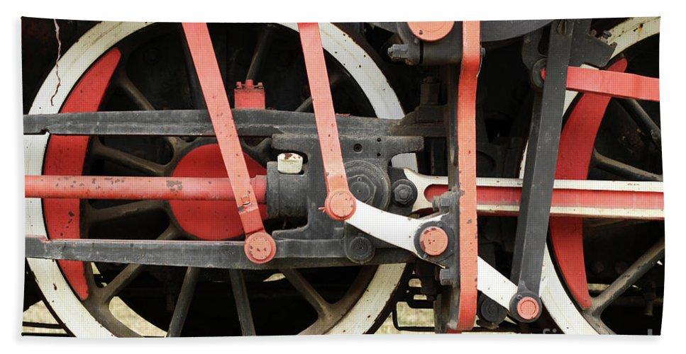 Steam Hand Towel featuring the photograph Old Steam Locomotive Wheels by Goce Risteski