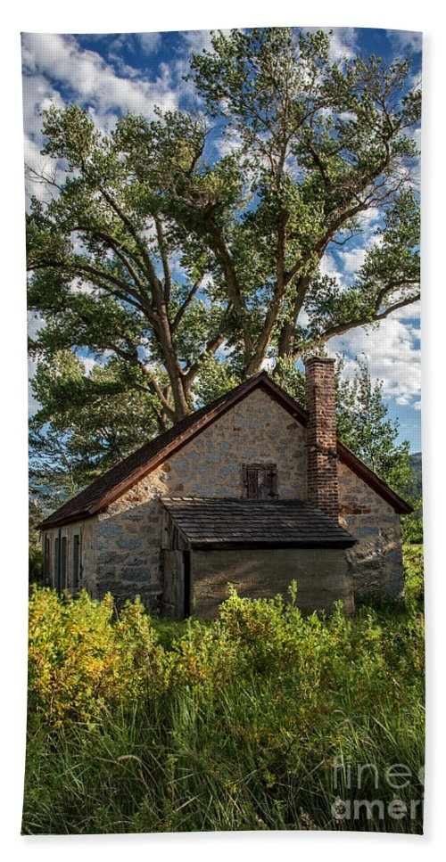 Structure Bath Sheet featuring the photograph Old Stone Ranch Structure by Dianne Phelps