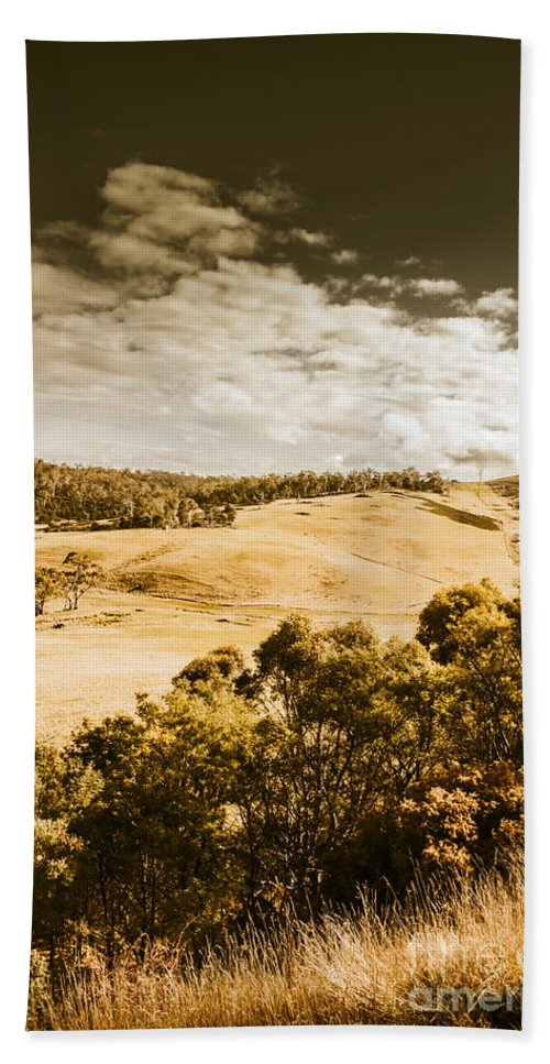 Brown Hand Towel featuring the photograph Old Summer Hills by Jorgo Photography - Wall Art Gallery
