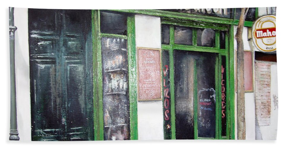 Bodegas Hand Towel featuring the painting Old Tavern-madrid by Tomas Castano