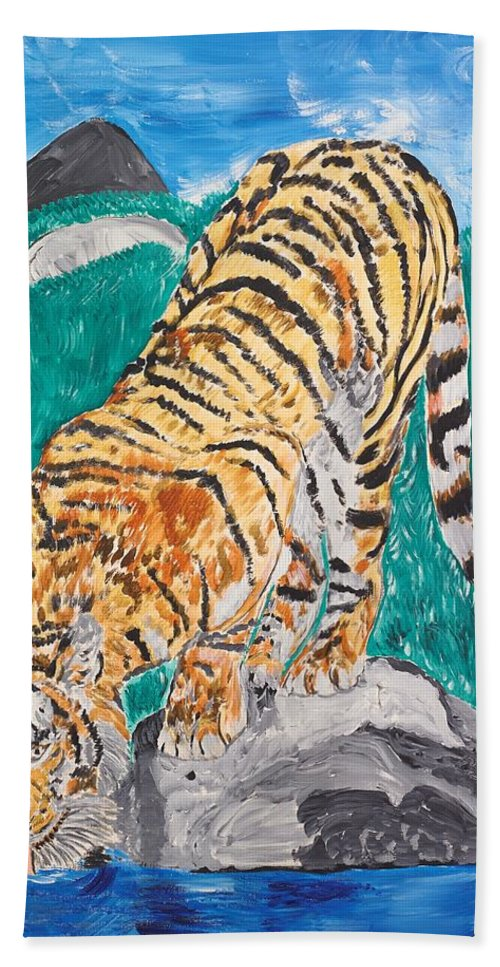 Cat Bath Towel featuring the painting Old Tiger Drinking by Valerie Ornstein