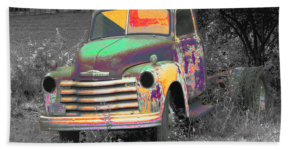 Car Hand Towel featuring the digital art Old Timer by Robert Meanor