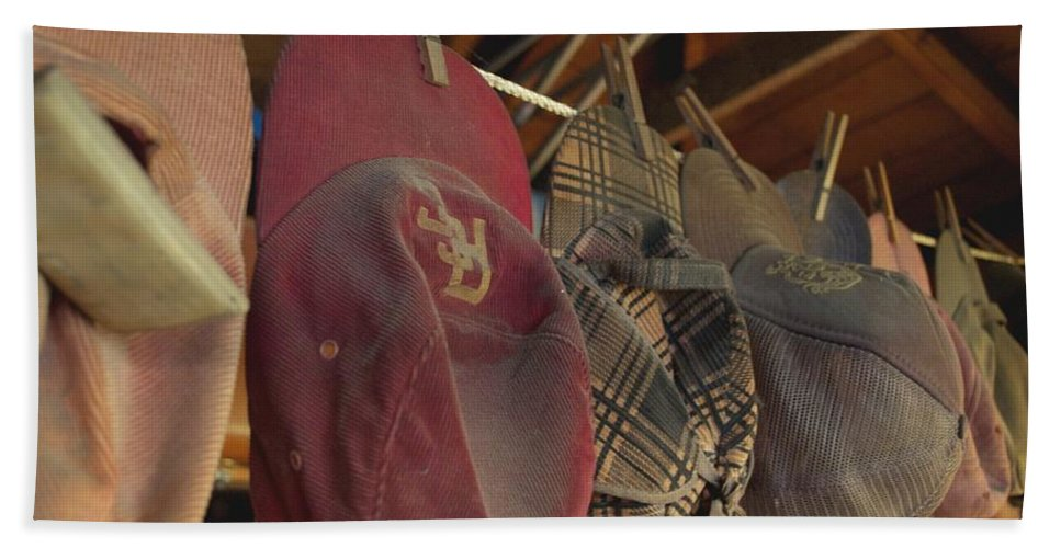 Garage Hand Towel featuring the photograph Old Timer's Garage by Gwyn Newcombe